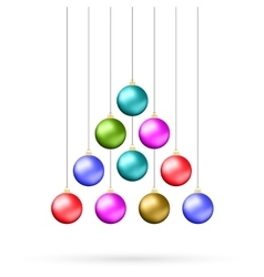 Ten multicolored christmas balls vector image