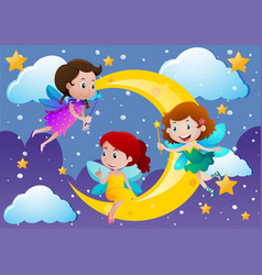 three fairies flying over the moon vector image