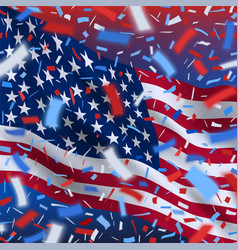 Usa independence day background with confetti vector