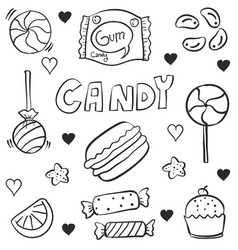 Various candy doodles vector