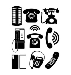 vintage and modern telephone vector image