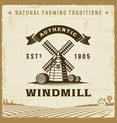 Vintage authentic windmill label vector