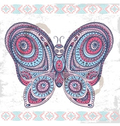 Vintage ethnic butterfly vector