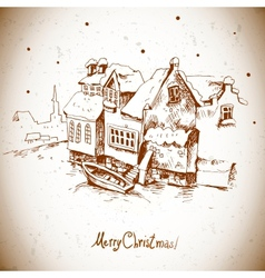 Vintage greeting card with winter landscape vector image