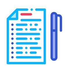 Voting sheet with pen icon outline vector