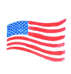 Watercolor american flag vector image