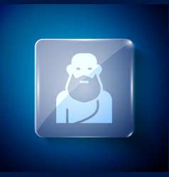 White socrates icon isolated on blue background vector