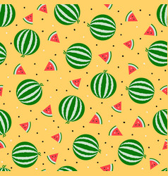 Whole watermelon and slice seamless pattern fruit vector