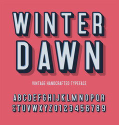 winter dawn vintage handcrafted 3d alphabet vector image