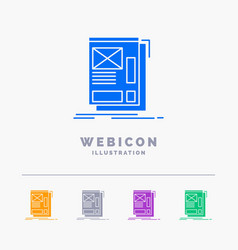 wire framing web layout development 5 color glyph vector image