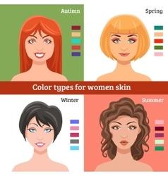 Women Skin Types Set vector