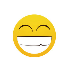 yellow smiling cartoon face laugh positive people vector image