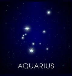 Zodiac sign aquarius constellation in cosmic vector