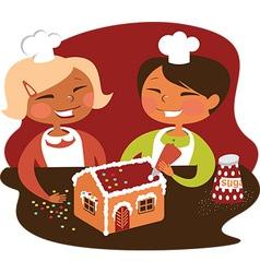 Children making gingerbread house vector image vector image