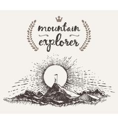 Drawn man top mountain winner concept explorer vector image vector image