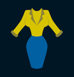 Icon in flat design fashion clothes office dress vector