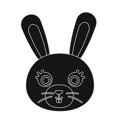 rabbit muzzle icon in black style isolated on vector image vector image