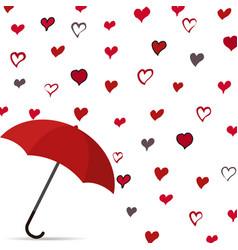 rain of heart with umbrella vector image