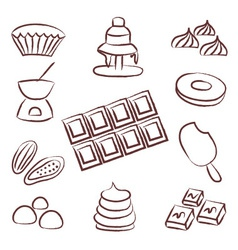 sweet chocolate doodle sketch icons set eps10 vector image vector image