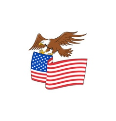 American Bald Eagle Carrying USA Flag Cartoon vector image vector image