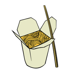 chinese noodle in box icon cartoon vector image