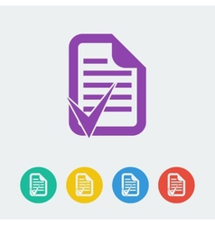 document accept flat circle icon vector image vector image