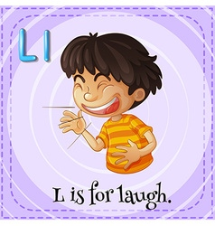 Flashcard letter L is for laugh vector image vector image