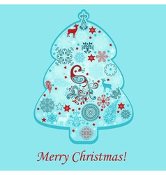 greeting card with fir tree vector image