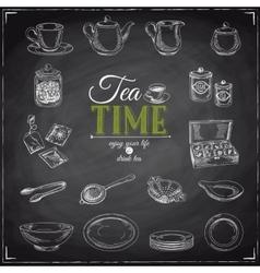 hand drawn of tea set vector image