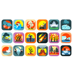 icons set of natural disaster catastrophe and vector image