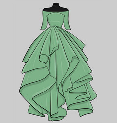 pale green dress with a long puffy skirt eps 10 vector image vector image