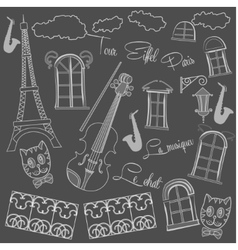 Background with saxophone on chalkboard vector image vector image