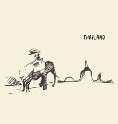 elephant temple thailand drawn sketch vector image