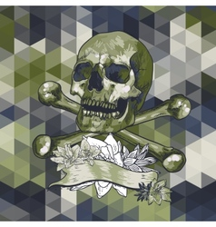 Skull with a ribbon on geometric background vector image vector image