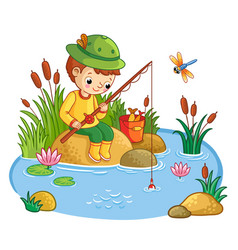the boy sits and catches fish in a pond vector image vector image