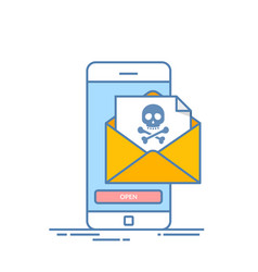 back malware notification in email on mobile phone vector image