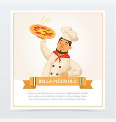 cartoon character of italian pizzaiolo holding hot vector image