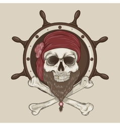 Pirate skull with a beard vector