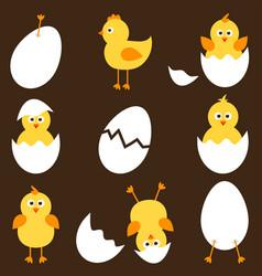set of cartoon chickens vector image