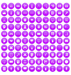 100 plan icons set purple vector