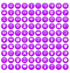 100 plan icons set purple vector