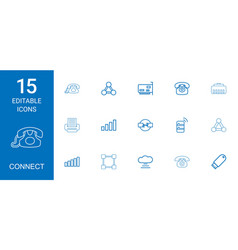 15 connect icons vector image