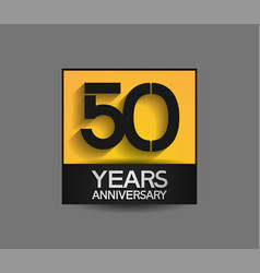 50 years anniversary in square yellow and black vector