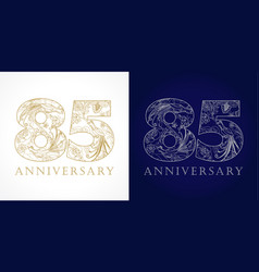 85 anniversary vintage silver gold vector image
