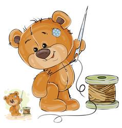 A brown teddy bear tailor vector