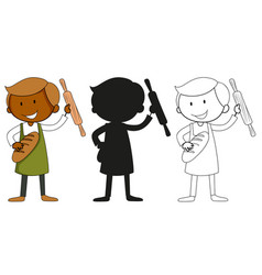 a set characters in color silhouette and vector image