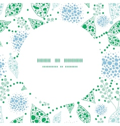 Abstract blue and green leaves circle frame vector