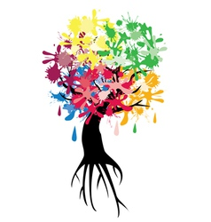 Abstract tree ink color vector