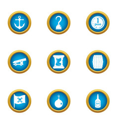 Act of piracy icons set flat style vector
