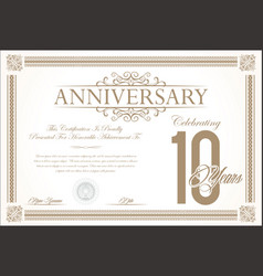 Anniversary retro vintage background 10 years vector